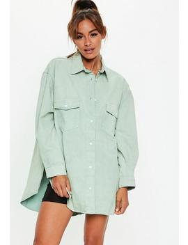 Sage Denim Super Oversized Boyfriend Shirt by Missguided
