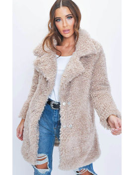 Longline Borg Teddy Coat Beige by Lily Lulu Fashion