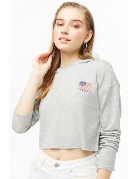 Hooded 1981 Graphic Raw Cut Top by Forever 21
