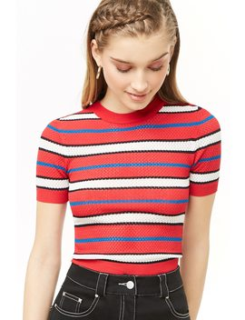 Multicolor Striped Perforated Top by Forever 21