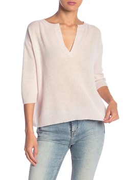 Anouk 3/4 Sleeve Cashmere Pullover by 360 Cashmere