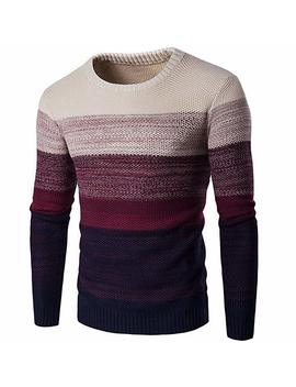 Granfee Men's Casual Stripe Pullover Cotton Crew Neck Sweater Assorted Color Knitwear by Granfee