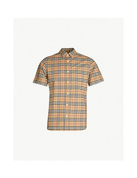 Checked Regular Fit Stretch Cotton Shirt by Burberry