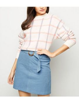 Pale Blue Ring Belt Corduroy Mini Skirt by New Look