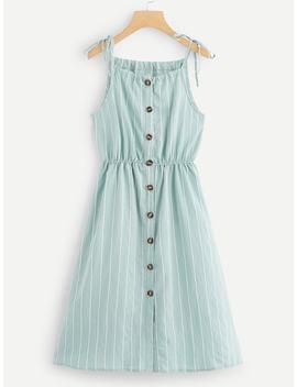 Striped Single Breasted Dress by Sheinside