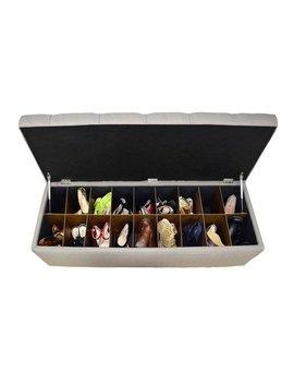 The Sole Secret Sachi Khaki Diamond Tufted Shoe Storage Bench by Generic