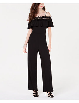 Juniors' Ruffled Cold Shoulder Jumpsuit by Bcx