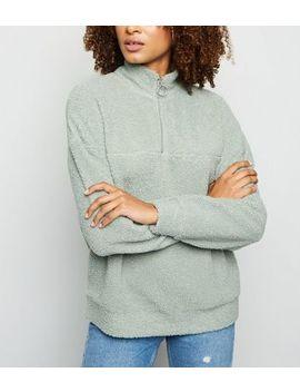Mint Green Ring Zip Up Funnel Neck Sweatshirt by New Look