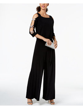 Bling Sleeve Wide Leg Jumpsuit by Msk