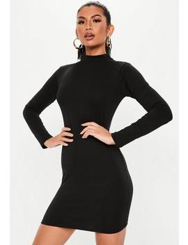 Black High Neck Curve Hem Mini Dress by Missguided