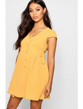 Petite Button Font Tie Side Dress by Boohoo