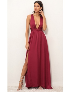 Samara Satin Maxi Dress In Merlot by Lucy In The Sky