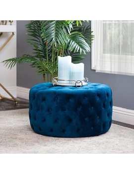 Abbyson Ella Blue Tufted Round Velvet Ottoman by Abbyson