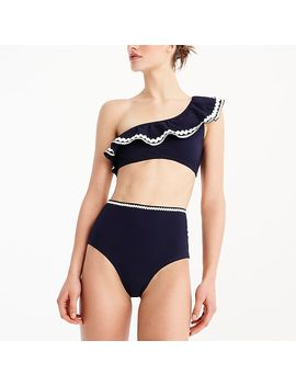 High Waisted Piqué Nylon Bikini Bottom With Rickrack by J.Crew