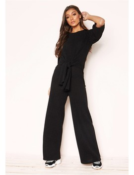 Lisa Black Knit Ribbed Tie Co Ord Set by Missy Empire