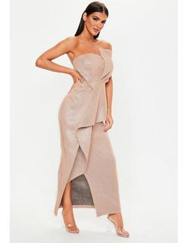 Premium Pink Glitter Bandeau Ruffle Dress by Missguided