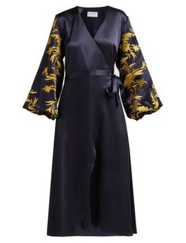 Embroidered Satin Wrap Dress by Osman