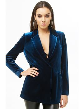 Single Breasted Velvet Blazer by Forever 21