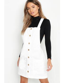 Button Through Cord Pinafore Dress by Boohoo