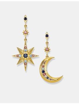Kingdom Of Dreams Star & Moon Gold Mismatch Earrings by Thomas Sabo