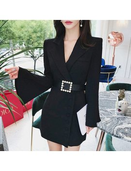Office Ladies Sashes Women Blazers Suits Female Notched Neck Slim Blazer Dress Elegant Buttons Blaser Overcoat 2019 by Bgteever