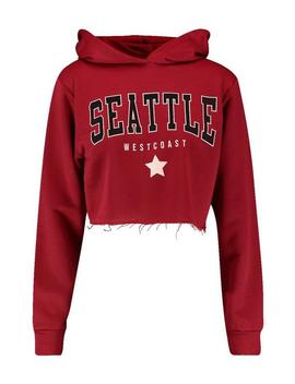 Seattle Crop Slogan Hoody by Boohoo