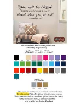 Family Wall Quotes Decal   You Will Be Blessed When You Come In And Blessed When You Go Out   Deuteronomy 28:6   Scripture Welcome Entry by Etsy