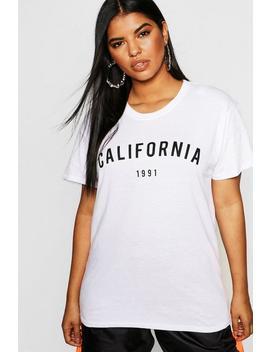 Plus California 1991 Slogan T Shirt by Boohoo