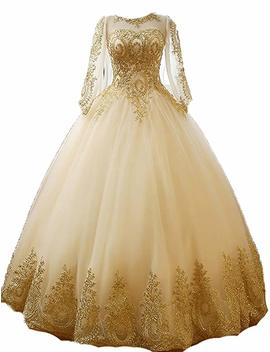 Bess Dress Gold Lace Appplique Quinceanera Dresses Long Sleeves Prom Ball Gown Bd389 by Bess Dress