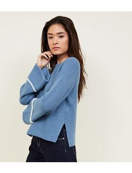 Blue Ribbed Stripe Sleeve Knit Jumper by New Look