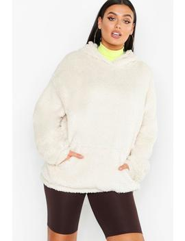 Plus Teddy Cowl Neck Slouchy Hoody by Boohoo