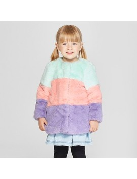 Toddler Girls' Colorblock Faux Fur Coat   Cat & Jack™ Aqua by Cat & Jack