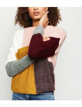 Multicoloured Patchwork Knit Jumper by New Look