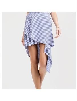 J. O. A. Striped Poplin High Low Skirt, Nwot by Nordstrom