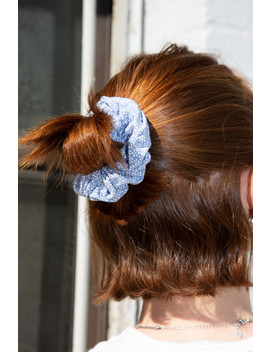 Light Blue And White Flower Scrunchie by Brandy Melville
