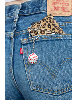 White And Red Heart Dice Keychain by Brandy Melville