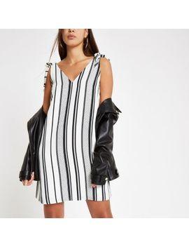 Cream Stripe V Neck Slip Dress by River Island