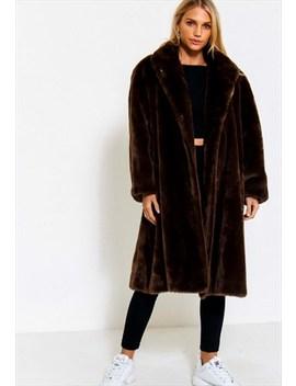 Vintage 80's Brown Faux Fur Coat by Nine Crows