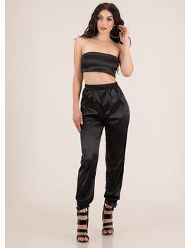 Sexy In Satin Tube Top And Jogger Set by Go Jane