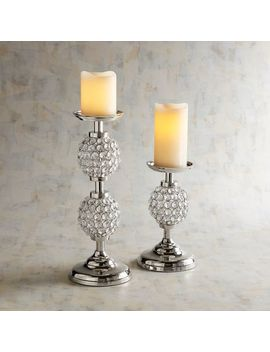 Crystal Beaded Pillar Candle Holders by Pier1 Imports