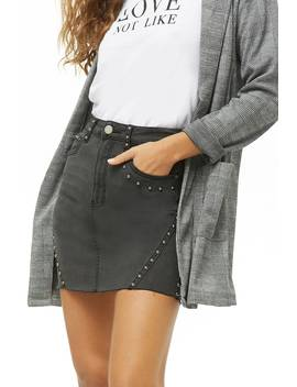 Studded Denim Skirt by Forever 21