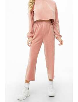 Velour Culotte Pajama Pants by Forever 21