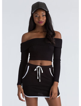 New Bow Ribbed Off Shoulder Crop Top by Go Jane