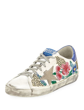 Superstar Floral Embellished Leather Low Top Sneakers by Golden Goose