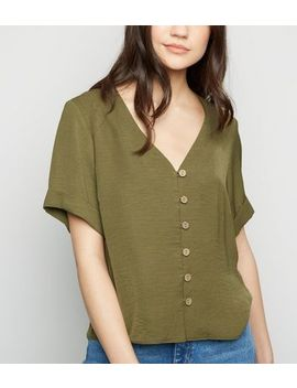 Khaki Button Through Boxy Shirt by New Look
