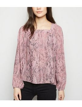 Pink Snake Print Long Sleeve Square Neck Blouse by New Look