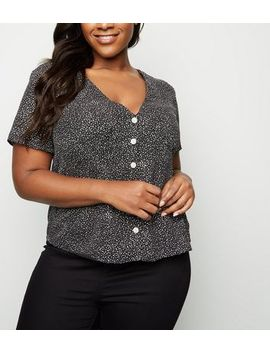 Curves Black Spot Button Up Shirt by New Look