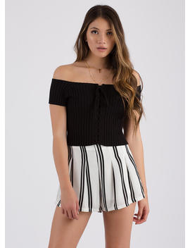 Watch Out Off Shoulder Lace Up Top by Go Jane