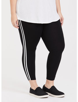 Black Stripe Crop Legging by Torrid