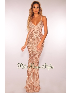 Rose Gold Sequins Spaghetti Straps Gown by Hot Miami Style